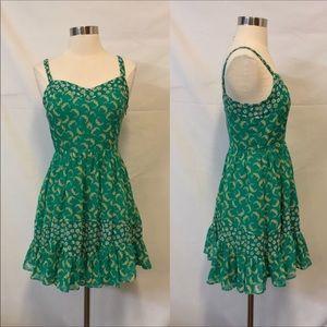 LC Lauren Conrad Green Floral Print Sheath Dress 8